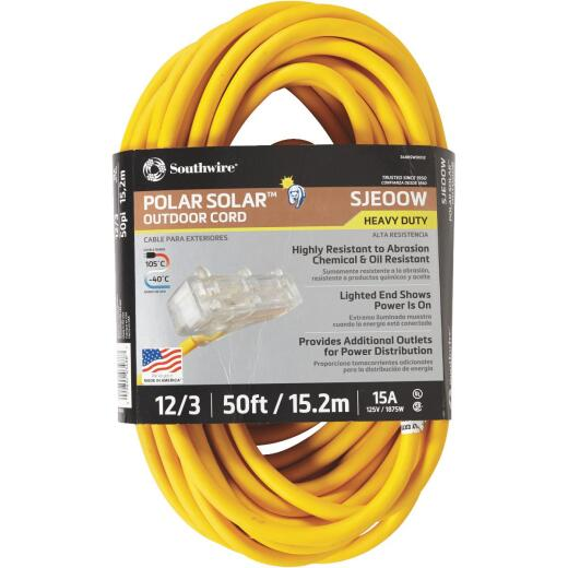 Coleman Cable Polar Solar 50 Ft. 12/3 Cold Weather 3-Outlet Extension Cord